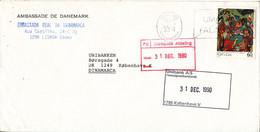 Portugal Cover Sent To Denmark 1990 Single Franked - Cartas