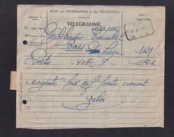 """DDZ 907 - Télégramme """" Via Belradio"""" PORTO Vers Edicabel à BOIRS - Télégraphique VISE 1947 - Griffe Déjà Téléphoné - Telegraph"""