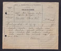 """DDZ 908 - Télégramme """" NLt=Percevoir 10 Frs=Réexpédié De LIEGE Vers Edicabel à BOIRS - Télégraphique VISE 1948 - Telegraph"""