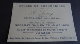 CARTE DE VISITE PUBLICITAIRE  A . LEROY SAINT - AIGNAN - LOIR ET CHER - Advertising