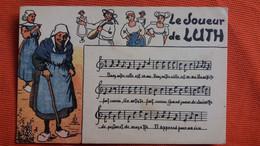 CPA LE JOUEUR DE LUTH PORTEE MUSICALE MUSIQUE FOLKLORE  ED LONGUET - Musica
