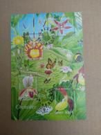 France-BLOC-BF 81 Sur 2005 YT 3763 A 3766 Nature-Orchidées-fleurs-papillons Imprimés Sur Le Bloc -Oblitéré Sans Gomme - Usati