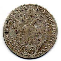 AUSTRIA, 20 Kreuzer, Silver, Year 1825-A, KM #2144 - Austria