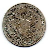 AUSTRIA, 20 Kreuzer, Silver, Year 1830-A, KM #2145 - Austria