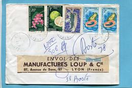 Marcophilie -CAMEROUN -1970pour Fraçe 5 Stamps Thematic Rustacé Fruit-fleurs - Camerun (1960-...)