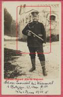 """Walcourt Environs : Carte Photo Château Léonard - Soldat Allemand """" Feldzug 48 """" En Faction 23 Nov. 1914 - Guerre 14-18. - Walcourt"""