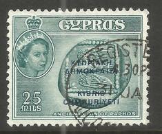 CYPRUS. QE2. 25m WITH OVERPRINT. USED. - Cyprus (...-1960)