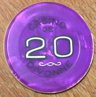 01 DIVONNE-LES-BAINS JETON DE CASINO DE 20 FRANCS N° 27807 CHIP TOKENS COINS - Casino