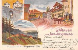 Gruss Aus Leubringen - Litho 1898 - Diligence - Funiculaire - Evilard - BE Berne