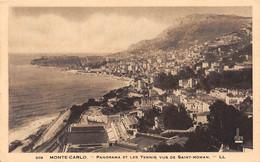 MONTE-CARLO - Panorama Et Les Tennis Vus De Saint-Roman. - Monte-Carlo