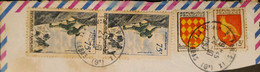 J) 1957 FRANCE, FRAGMENT OF THE LETTER, SHIELDS, MOUNTAINEERING, MULTIPLE STAMPS, XF - Zonder Classificatie