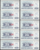 BOSNIA - HERZEGOVINA 10 Stück á 25-tausend Dinara  24.12.1993 Pick 54h UNC (1)  - Bosnia And Herzegovina