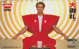 TC JAPON / 110-113291 - CINEMA - SCHWARZENEGGER / Pub NISSIN FOoD - MOVIE Star JAPAN Free Phonecard - S 17382 - Cinema