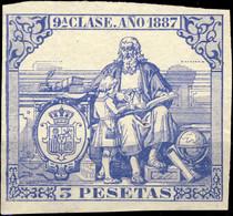 ESPAGNE / SPAIN / ESPAÑA Fiscales ANO 1887 Pólizas Sello 9° 3 Ptas Azul - Nuevo Sin Goma - Muy Bonito - Fiscale Zegels