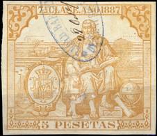 ESPAGNE / SPAIN / ESPAÑA Fiscales ANO 1887 Pólizas Sello 7° 5 Ptas Bistre - Usado - Muy Bonito - Fiscale Zegels