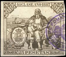 ESPAGNE / SPAIN / ESPAÑA Fiscales ANO 1887 Pólizas Sello 4° 25 Ptas Bronce - Usado - Muy Bonito - Fiscale Zegels