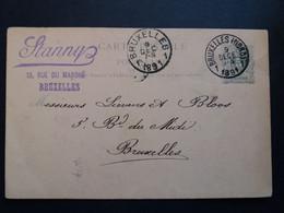 Belgique  Oblitération Bruxelles Nord 1 Sur EP N°19 IIB Envoi De STANNY - Cartoline [1871-09]