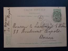 Belgique  Oblitération Bruxelles Nord Depart + Anvers Arrivée Sur EP N°27 - Cartoline [1871-09]