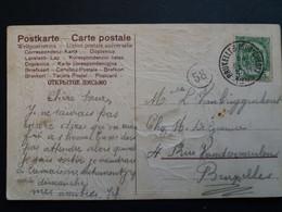 Belgique  Oblitération Bruxelles Sud-ouest Sur CP Fantaisie Relief Romantique Avec Poeme - Cartoline [1871-09]