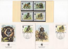 CAMEROUN - 25.5.1988; Animaux En Voie De Disparition TP's Plus 2 FDC's; Lot Nr. 40151 - Camerun (1960-...)
