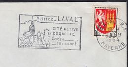 Blason AGEN 12c  Y.T.1353A  SEUL Sur Enveloppe De 53 LAVAL Le 14 9 1964   Pour 53 MAYENNE - 1961-....