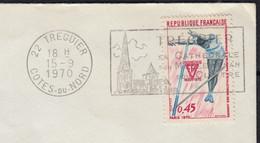 1ers Championnats D'Europe ATHLETISME Juniors 45c  Y.T.1650 SEUL Sur Enveloppe De 22 TREGUIER 1970 Pour 53 MAYENNE - 1961-....