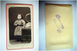 PHOTO CDV JEUNE FILLE ROBE CHAPEAU MODE   Cabinet HOURY  A MER LOIR ET CHER - Old (before 1900)