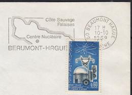 20ème Ann Energie ATOMIQUE  60c  Y.T.1462 SEUL Sur Enveloppe De  50 BEAUMONT-HAGUE 1969 Pour 25 MONTBELIARD - 1961-....