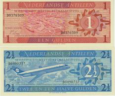 ♛ NETHERLANDS ANTILLES - 1 + 2½ Gulden 08.09.1970 {Pcs.2 Set} UNC P.20+21 - Netherlands Antilles (...-1986)