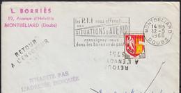 Blason AGEN 12c Y.T.1353A SEUL Sur Enveloppe De 25 MONTBELIARD 1966 RETOUR ENVOYEUR  Pour 53 ST MARTIN DE CONNEE - 1961-....