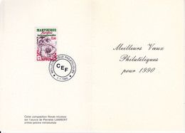 SOUVENIR PHILATéLIQUE /MEILLEURS VOEUX POUR L'ANNéE 1990/TP N° 2035 / FLORALIES INTERNATIONALES DE LA MARTINIQUE - Documents Of Postal Services