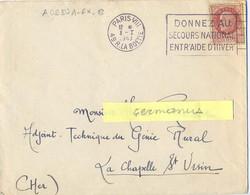 PARIS-VIII 49 R. LA BOETIE OMec FRANKERS 8-I 1943 DONNEZ AU / SECOURS NATIONAL / ENTR'AIDE D'HIVER - Mechanical Postmarks (Advertisement)