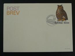 Entier Postal Stationery Hibou Owl Suede Sweden Ref 780 - Eulenvögel