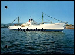 ÄLTERE POSTKARTE MV CALAROSSA CALMEDIA LINE FAST PASSENGERS CARGO VESSELS GENOVA Schiff Motorschiff Ship Bateau Postcard - Commercio