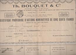 Auch( 32 Gers)  Certificat D'actions Nominatives BOUQUET Imprimeur  1908  (M2424) - Unclassified