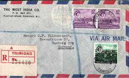 ! 1967 Brief Einschreiben Aus Trinidad, Port Of Spain, Gelaufen Nach Hamburg - Trinidad & Tobago (1962-...)