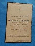 Genealogie FAIRE PART DECES  MILITAIRE  CAPITAINE 7EME TERRITORIALE BOULOGNE SUR MER 1918 DUTEURTRE - Documents