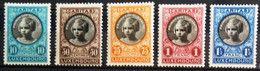 LUXEMBOURG 1927 Mi 192-196 M - 1921-27 Charlotte Frontansicht