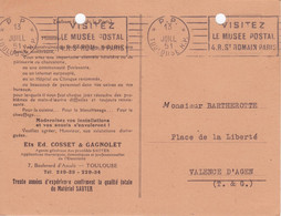Oblitération Mécanique RBV * P.P. * TOULOUSE R.P. Port-payé 1951 (Musée Postal) Pub Cuisines TB - Oblitérations Mécaniques (Autres)