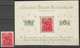Hungary,900 Years Of Death-St.Stephan 1938.,block+stamp From Block,MNH - Ongebruikt
