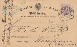Allemagne Joli Cachet Fer à Cheval Hamburg Sur Entier Postal 1875 - Cartas