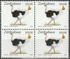 Zimbabwe - 2000 - Ostrich Block Of 4 - Ostriches