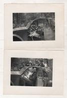 2 PHOTOGRAPHIES ORIGINALES D'UNE FAMILLE DANS UNE CITROEN 2 CV  - 9 X 12 Cm - Automobili