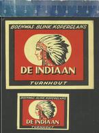 TURNHOUT DE INDIAAN BOENWAS BLINK KOPERGLANS( CHIEF NATIVE AMERICANS )  ( Matchbox Labels Belgium ) - Scatole Di Fiammiferi - Etichette