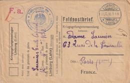 Allemagne Lettre Prisonnier De Guerre Limburg Pour La France 1915 - Cartas
