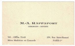 M. A. RAPPAPORT CHIRURGIEN DENTISTE 259 RUE SAINT-HONORE PARIS METRO MADELEINE OU CONCORDE TEL OPERA - Visiting Cards