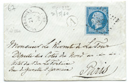 N° 14 BLEU NAPOLEON SUR LETTRE / NIEDERBRONN POUR PARIS / 21 MAI 1860 / PC 2270 IND 5 - 1849-1876: Klassik