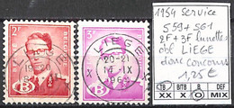 [850840]TB//O/Used-Belgique 1954 - S59+61, 2f+3f Lunettes, Obl LIEGE Donc Concours, Familles Royales, Rois - Errors (Catalogue Luppi)
