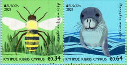 Cyprus - 2021 - Europa CEPT - Endangered National Wildlife - Honey Bee And Monk Seal - Mint Booklet Stamp Set (type A) - Nuovi