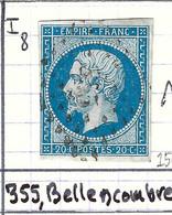 FRANCE Classique: Le Y&T 14A Obl. PC 355 (Bellencombre, Ind.8), SEINE INFERIEURE - 1853-1860 Napoleon III